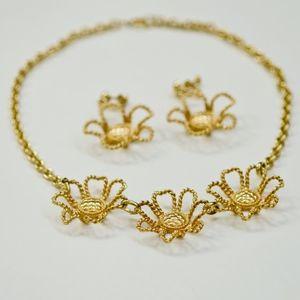Vintage Metal Floral Necklace Earring Set